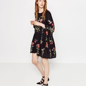 Zara Embroidered Swing Dress